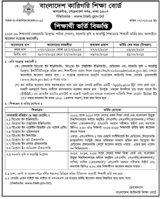 Admission Circular of Bangladesh Technical Education Board (BTEB)