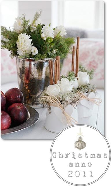 vit jul, vita hyacinter, kanel och äpplen