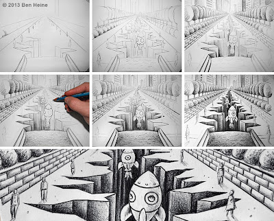 Earth Crack - Sketch in Progress by Ben Heine - New technologies and underground life in Asia