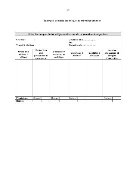 Exemple de rapport journalier d'un chantier BTP