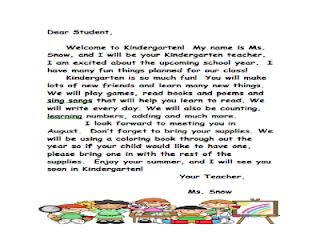 Preschool Welcome Letter From Teacher