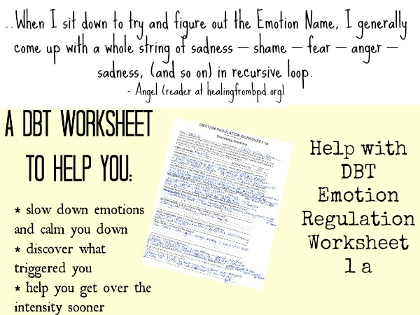 Healing From BPD Borderline Personality Disorder Blog Sorting – Emotion Regulation Worksheet