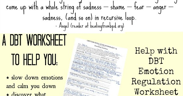 Healing From BPD Borderline Personality Disorder Blog Sorting – Emotional Regulation Worksheets