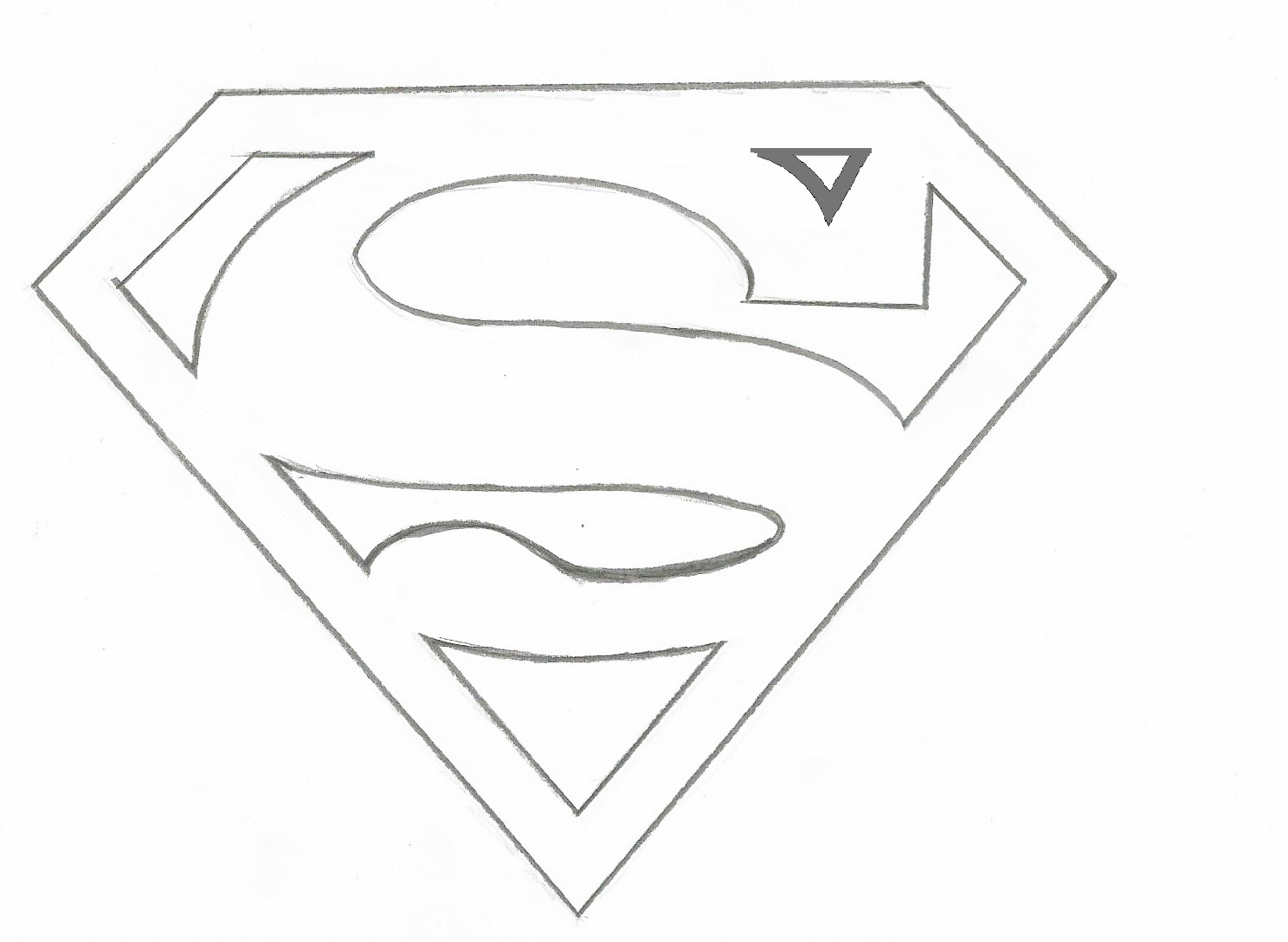draw superman logo sketch coloring page