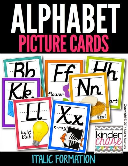 Alphabet Picture Cards Italics White Series
