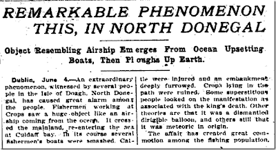 Object Resembling Airship Emerges From Ocean - Augusta Georgia Chronicle  6-5-1910