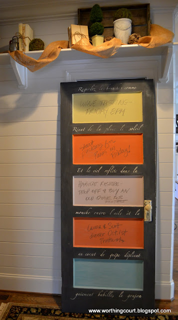 Door turned into a chalkboard via Worthing Court blog
