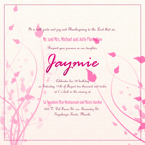 Sample invitation template for debut gallery invitation sample sample invitation template for debut thank you for visiting stopboris nowadays were excited to declare that we have discovered an incredibly interesting stopboris Image collections