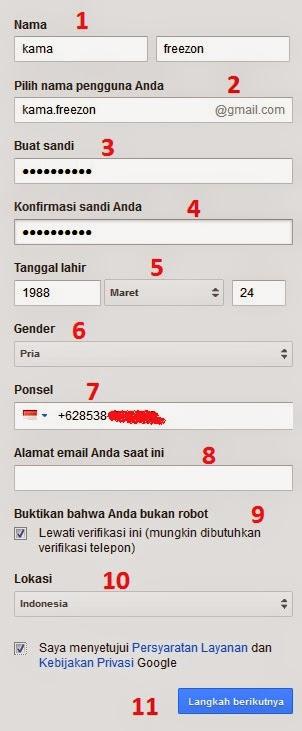 pengisian form cara membuat email google