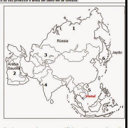 Mapa do continente asiático