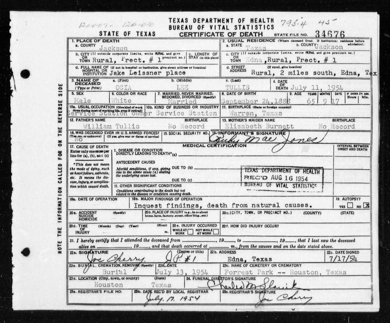 Burnett Family Genealogy January 2015