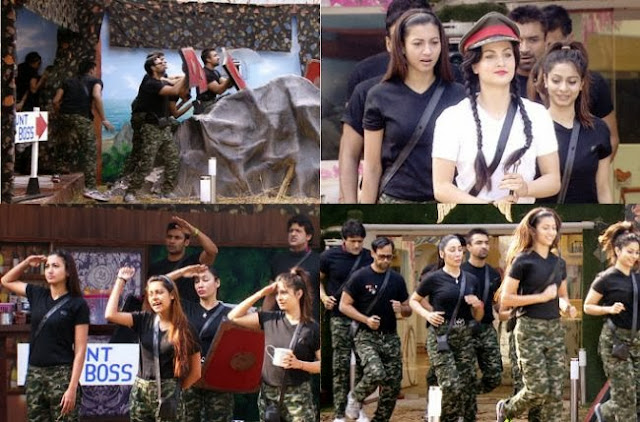 Contestants performing Commando task