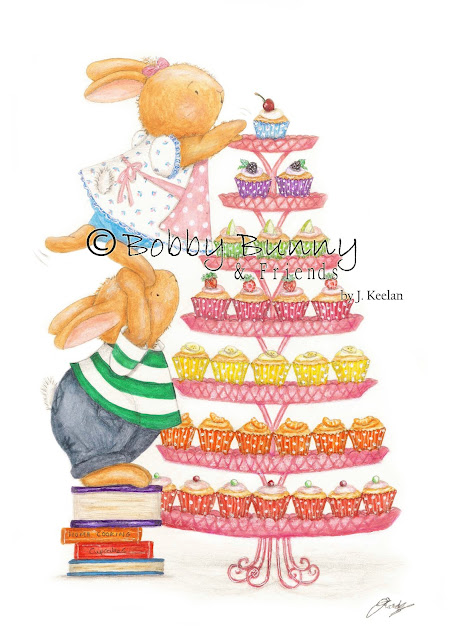 Bobby & Bella Bunny Character Illustration with Cupcakes - Copyright Bobby Bunny & Friends - By Jennifer Keelan Illustration 2010