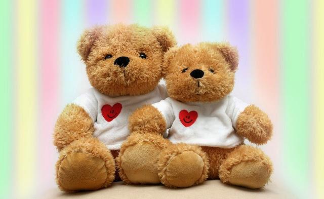 dos ositos de peluches con corazones san valentin