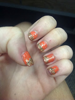 Orange gold glitter nail art 31 days of nail art challenge day 2 orange nails