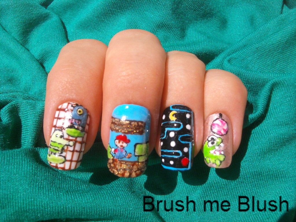 Brush Me Blush Video Game Nail Art