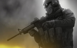 Ghost Modern Warfare Army Soldier Riffle Skull Mask HD Wallpaper Desktop PC Background