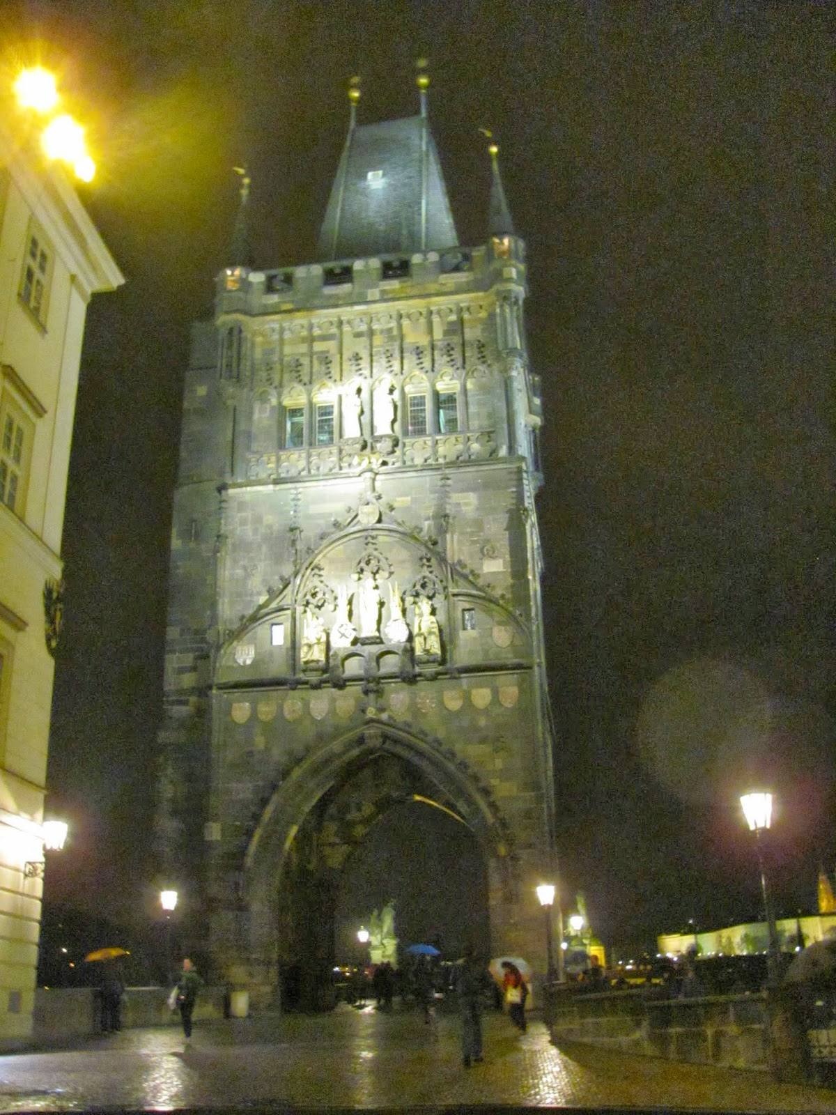 Charles Bridge Gate at night Prague, Czech Republic