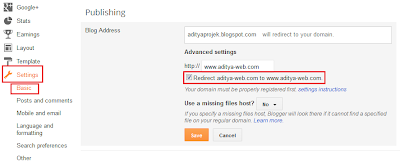 Setting www redirect domain di blogger