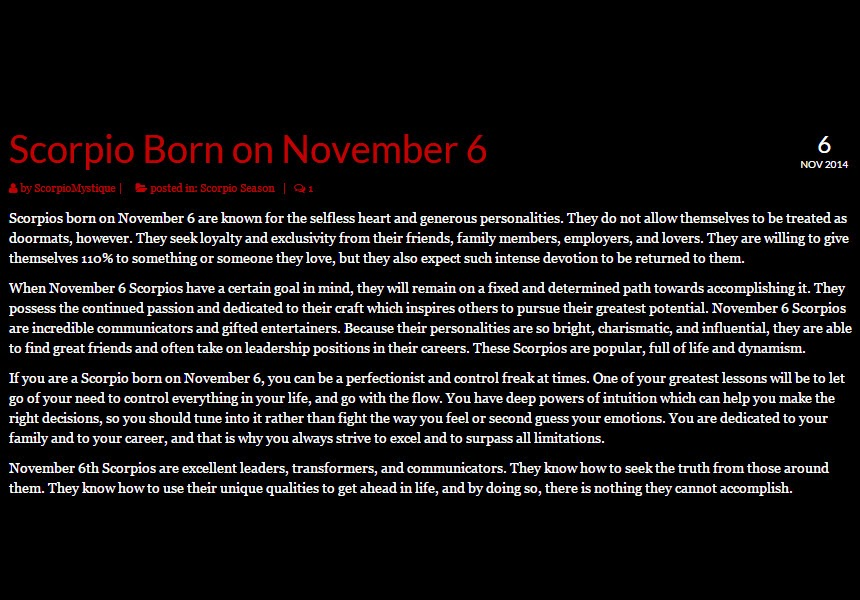 Born November 6 | If Today Is Your Birthday .com