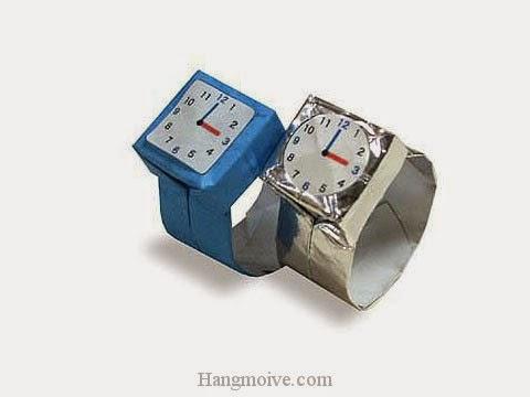 Cách gấp, xếp Đồng hồ bằng giấy origami - Video hướng dẫn xếp hình đồ thời trang - How to fold a Watch