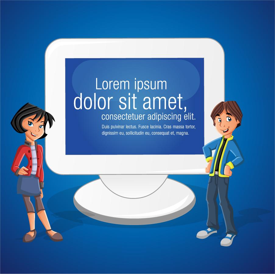 モニター風の掲示板を紹介する男女 Cartoon characters boy girl computer monitors イラスト素材