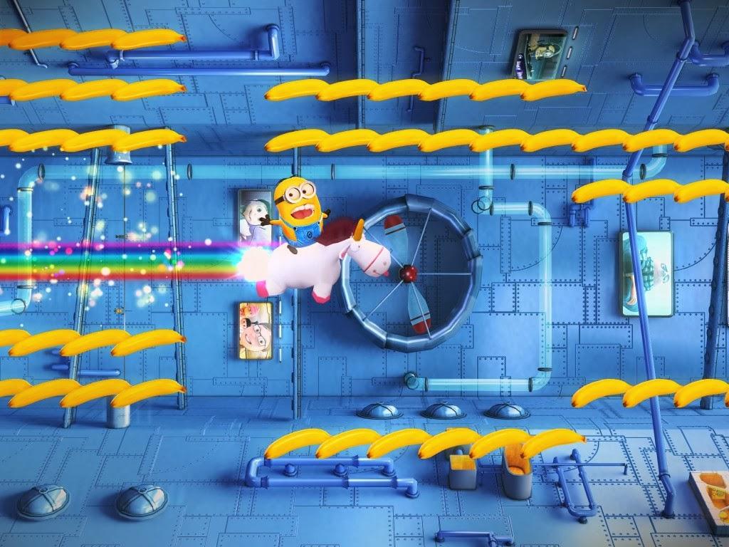 Minion Rush em uma das fases especiais, montado no unicórnio