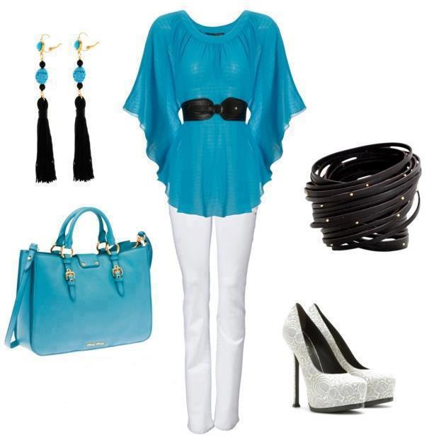 Blue open blouse, white pant, black belt, high heel shoes and hand bag for ladies