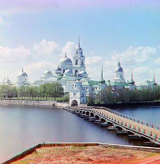 Foto Biara Svetlitsa Island, Saint Nihil Stolbenskii Biara, Danau Seliger Tahun 1910 oleh Sergei Mikhailovich Prokudin