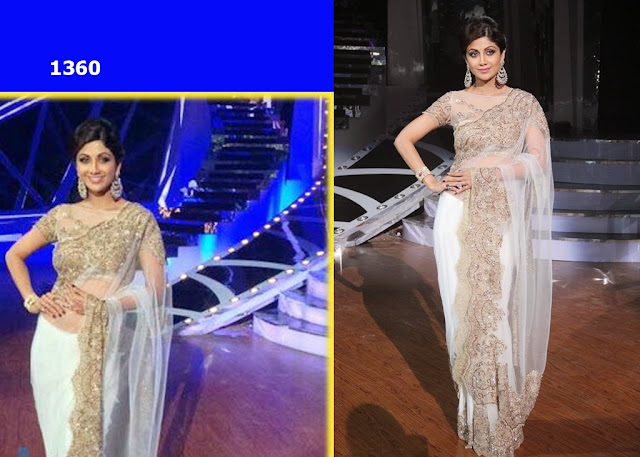 1360-Shilpa Shetty was seen wearing a white net saree by Neeta Lulla at Nach Baliye 6