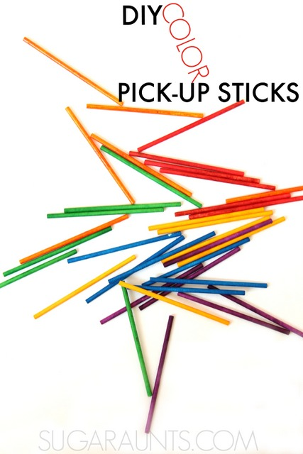 DIY pick up sticks for kids (and adults!) You can make these any color and using items you probably already have at home, while working on fine motor skills like open web space, pincer grasp, precision grasp and release, in-hand manipulation, and visual perceptual motor skills like eye-hand coordination, visual motor, visual scanning, and visual memory.