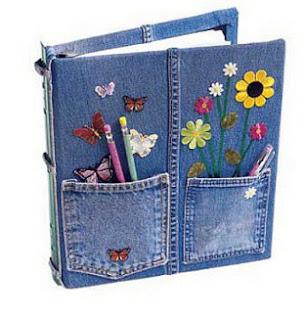 membuat kerajinan notebook cover dari kain jeans lama