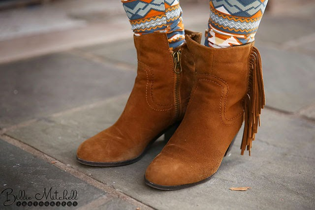 Brown suede fringed ankle boots