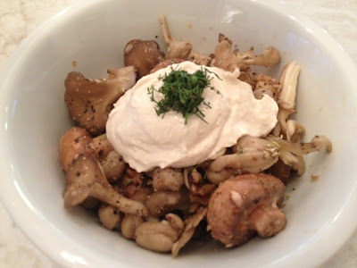 Marinated Mushrooms With Walnuts & Tahini Yogurt recipe