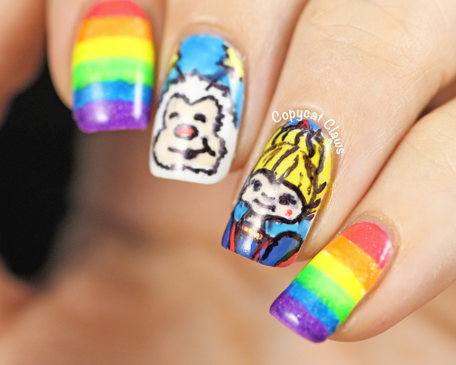 Copycat claws 31dc2014 day 9 rainbow brite nail art for those of you who are either too young or elsewhere on the globe rainbow brite was a tv show back in the 80s honestly i dont remember the tv show at prinsesfo Gallery