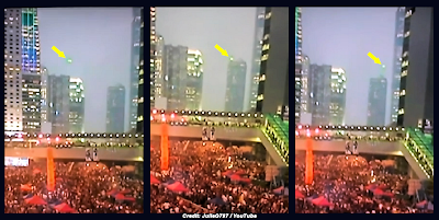 UFO Captured on Live TV Over Protests in Hong Kong 9-30-14