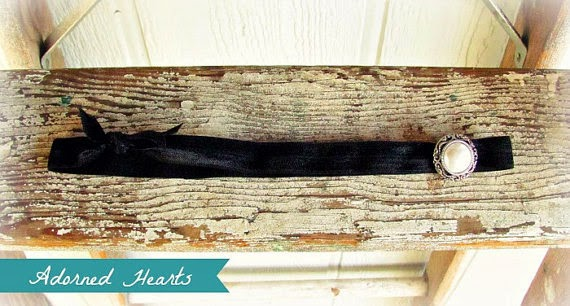 black elastic ribbon headband with pearl accent by AdornedHearts