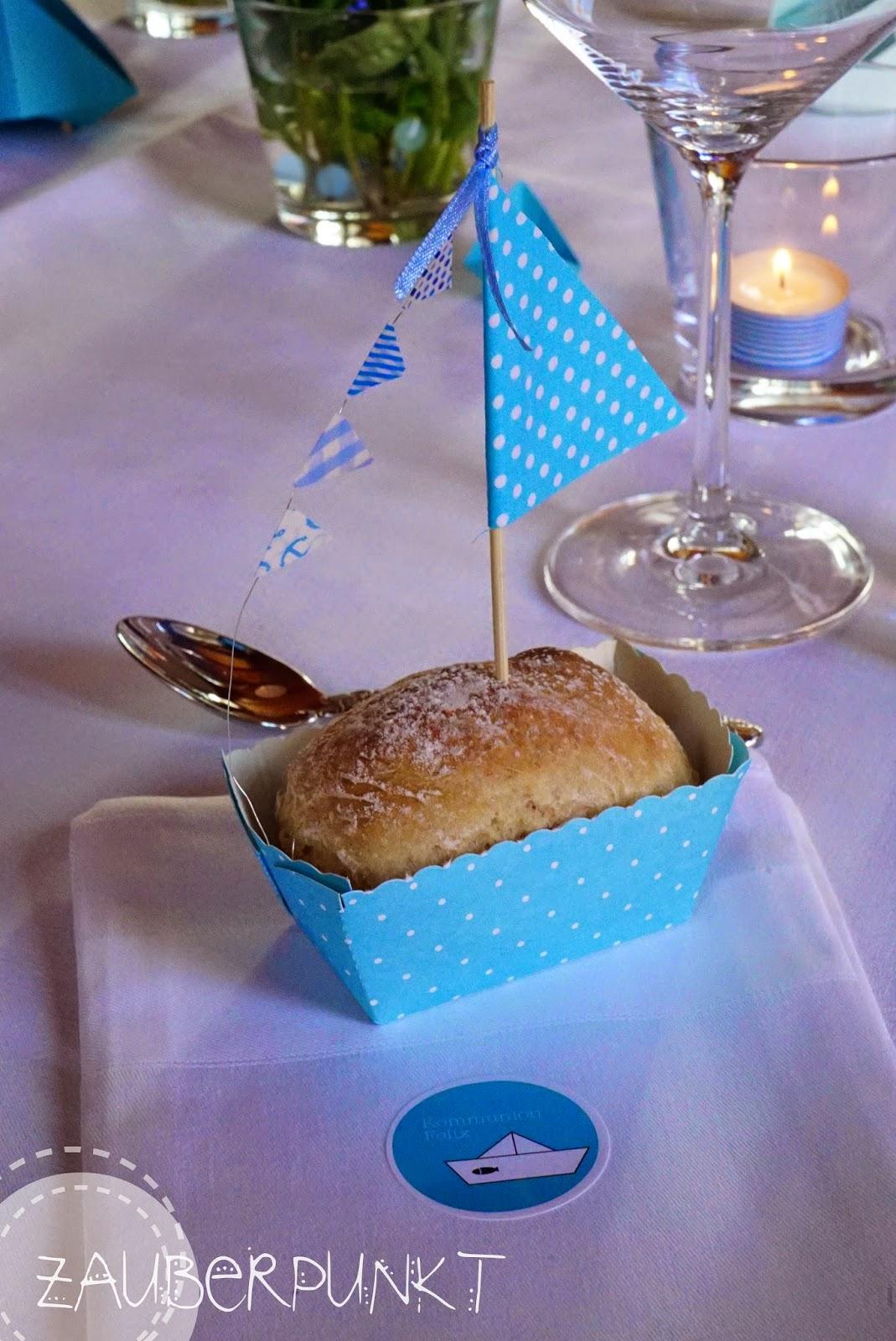 Tischdekoration, Kommunion, Schiff, Brot, Segel, Blau, DIY