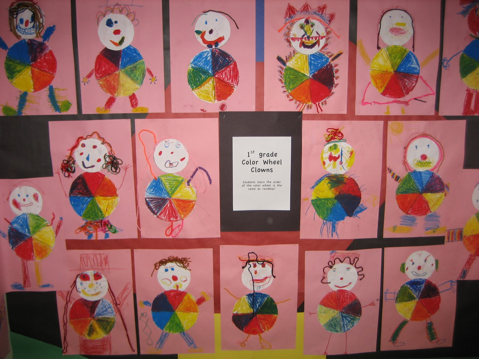 Color wheel art projects for kids - 1st Grade Color Wheel Clowns