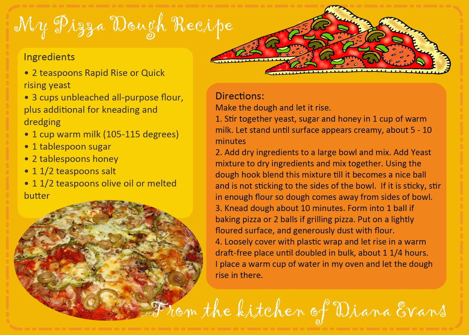... ....updated pizza dough recipe card....and a fun way to use it
