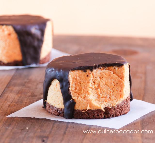 Mousse de calabaza, caramelo y chocolate