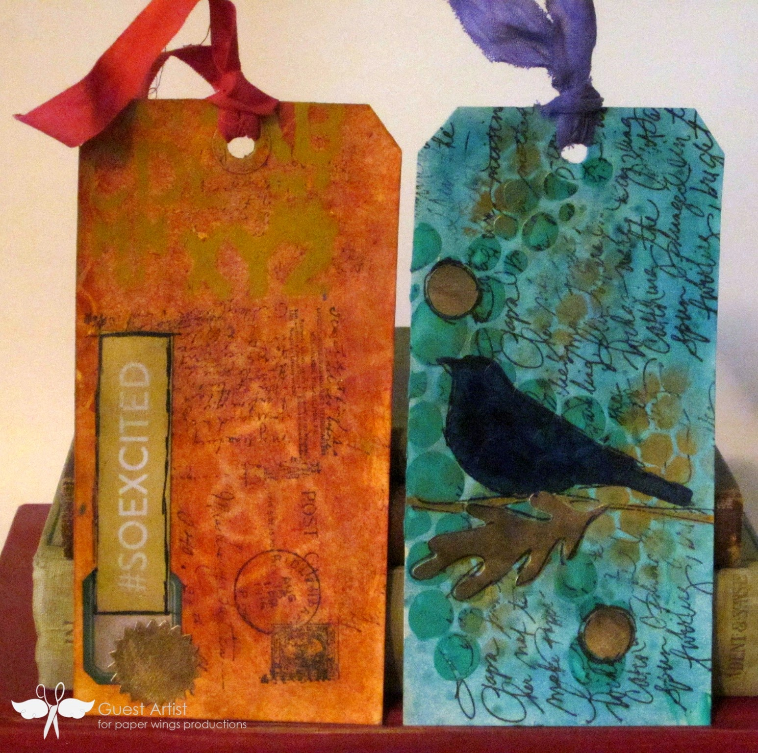 PWP feature friday writing background stamps, mixed media tags created by www.serendipitystudiobycw.blogspot.com