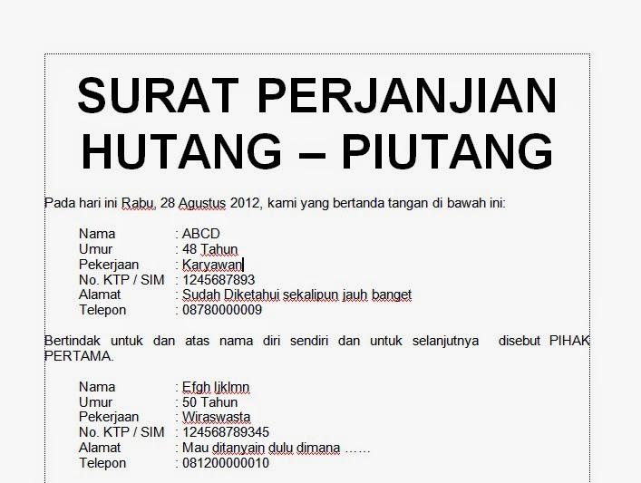 Contoh Surat Pernyataan Hutang Piutang Tanpa Jaminan