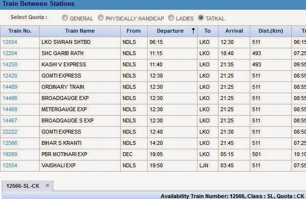 irctc tatkal ticket booking  for train between stations