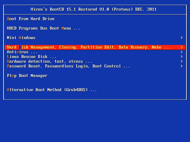 Hiren Boot Cd 15.1