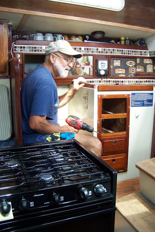 Daren installing the stove