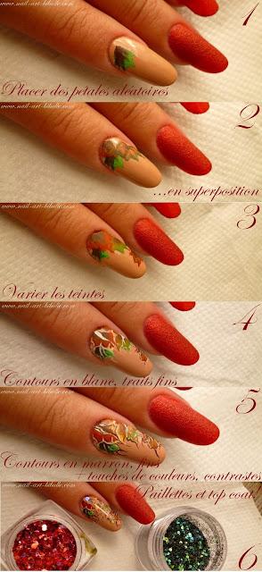 Pas à pas du nail art - Les feuilles d'automne - One stroke et Zhostovo