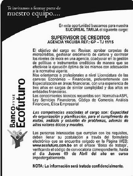 Banco Ecofuturo precisa Supervisor de Créditos - Agencia Yacuiba