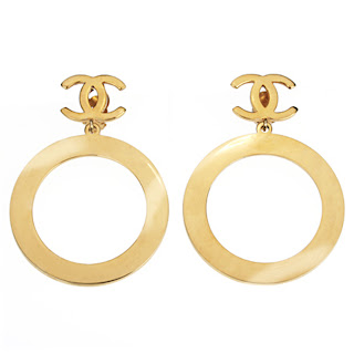 Vintage 1970's gold Chanel hoop earrings.