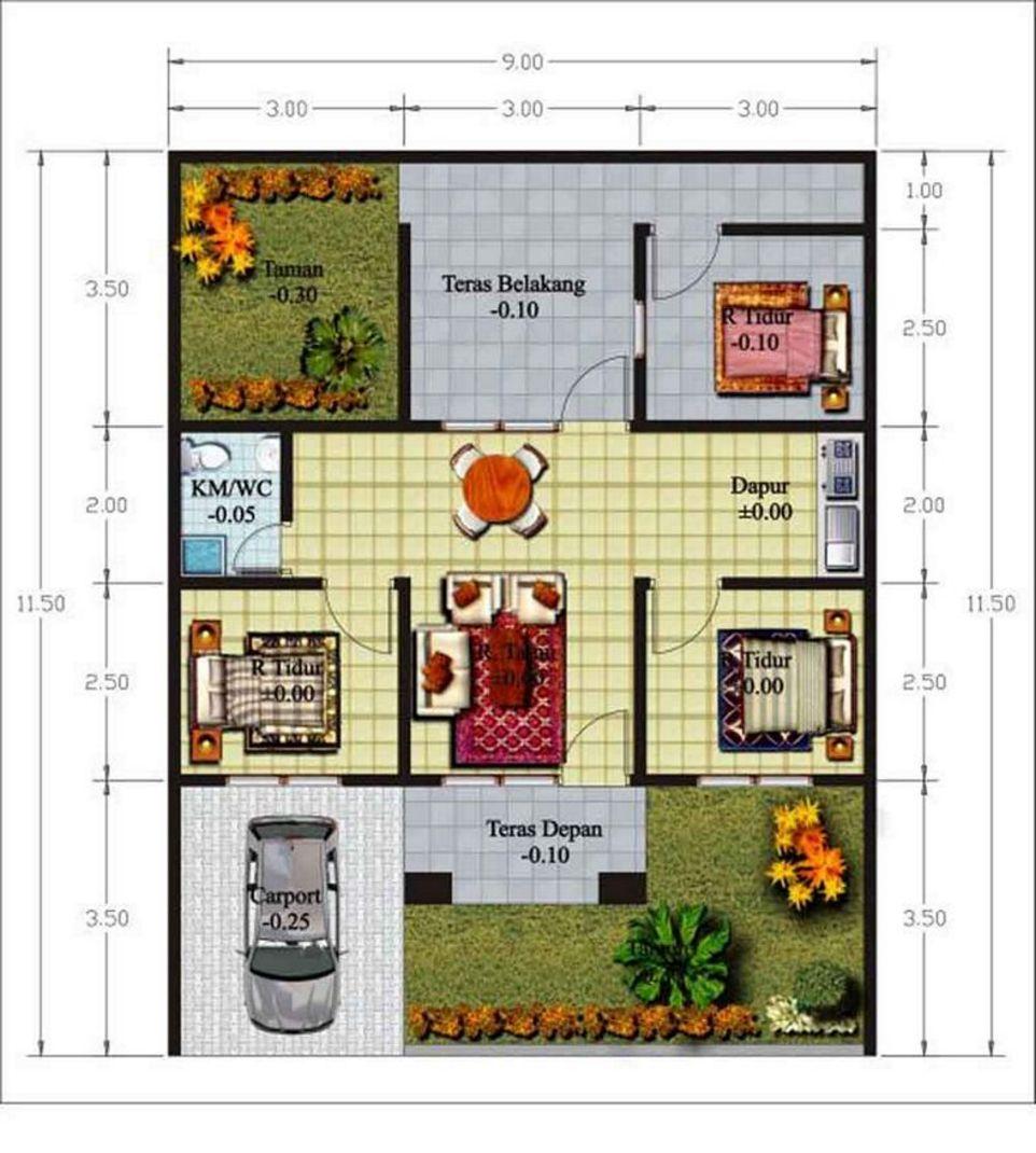 Sketsa Denah 3 Kamar Ada Garasi Unik Desain Rumah Minimalis